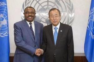 Primer Ministro Hailemariam con Ban Ki-moon secretario ONU